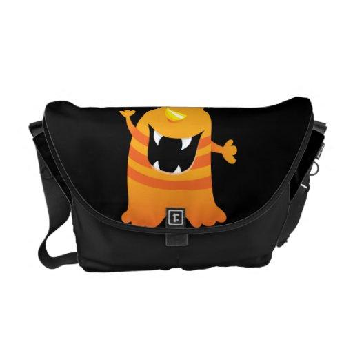 Retro Orange Cute Monster Courier Bag