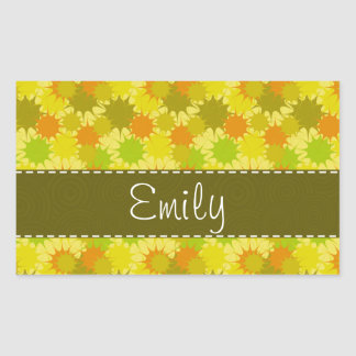 Retro Orange & Green Rectangular Sticker