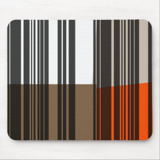 Retro Orange, Grey, Brown, Black Abstract Art Mouse Mat