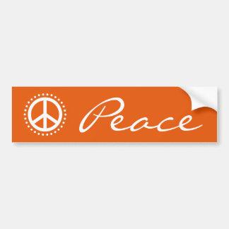 Retro Orange Polka Dot Peace Sign Symbol Bumper Sticker