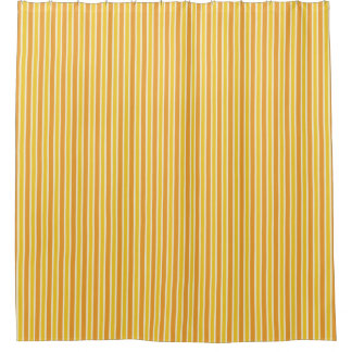 Retro Orange Stripe Shower Curtain