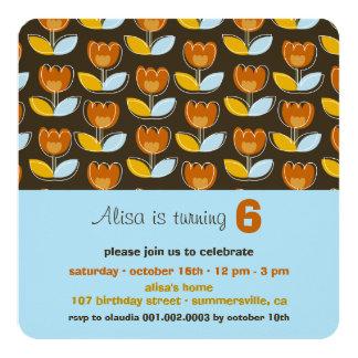 Retro Orange Tulips Girl Birthday Photo Invitation