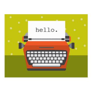 Retro Orange Typewriter Customizable Postcard