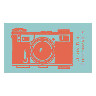Retro Orange Vintage Film Camera Photography Pack Of Standard Business Cards