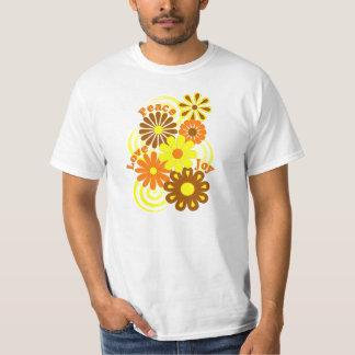 Retro Orange Yellow Floral Peace Love & Joy Shirt