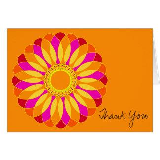 Retro Orange & Yellow Flower on Orange Greeting Card