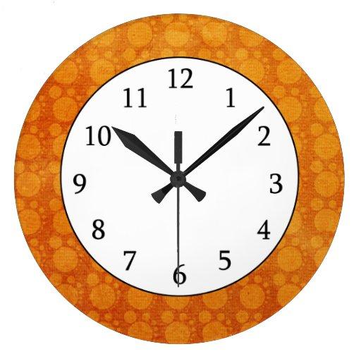 Retro  Orange Yellow  Grungy Polka Dots Pattern Clocks