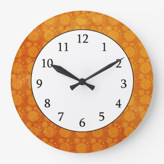 Retro  Orange Yellow  Grungy Polka Dots Pattern Wallclock