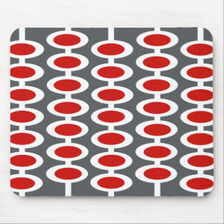 Retro Orb Pattern - gray, white & red mousepad