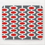 Retro Orb Pattern - grey, white & red mousepad