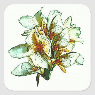 Retro orchids square sticker