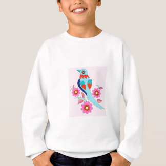 Retro oriental style bird in pink sweatshirt