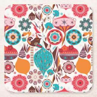 Retro Ornament Square Paper Coaster