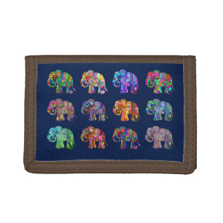 Retro ornamental colorful psychedelic elephants trifold wallets