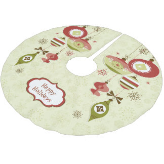 Retro Ornaments and Snow - Happy Holidays Brushed Polyester Tree Skirt