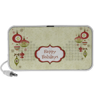 Retro Ornaments and Snow - Happy Holidays iPhone Speakers