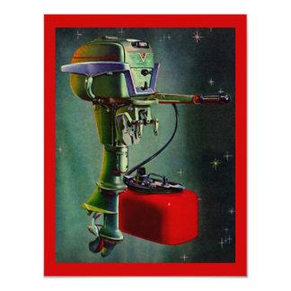 Retro Outboard w/ Red Gas Tank Vacation Invitation