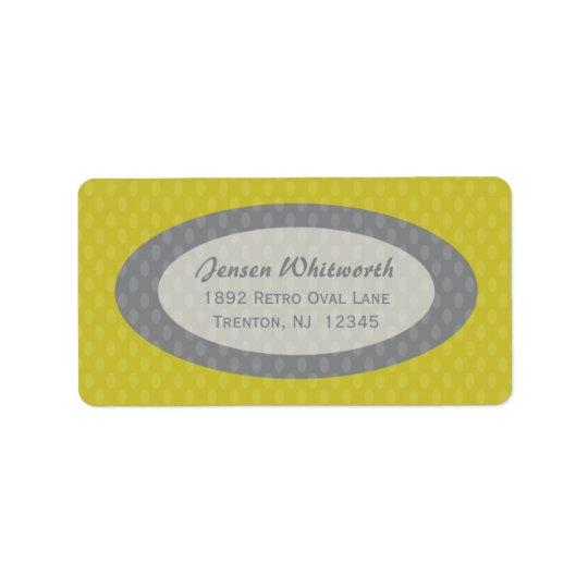 Retro Ovals Address Labels - Olive