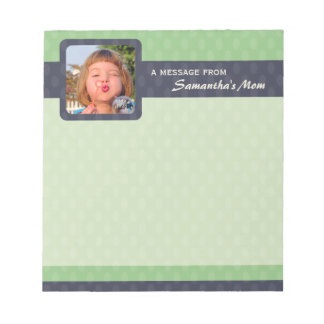 Retro Ovals Photo Small Mom Notepad - Moss