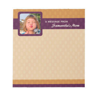 Retro Ovals Photo Small Mom Notepad - Tangerine