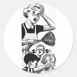 Retro Overwhelmed Mom Round Sticker