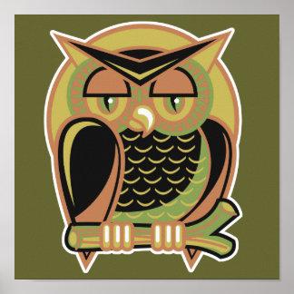 retro owl design posters