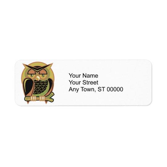 retro owl design return address label