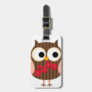 Retro Owl Girl with Flowers Luggage Tag