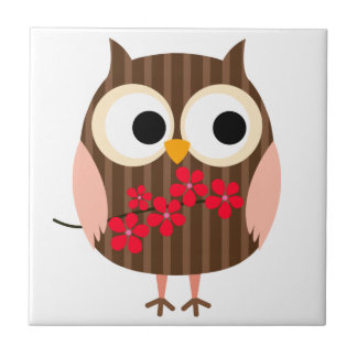 Retro Owl Girl with Flowers Tile