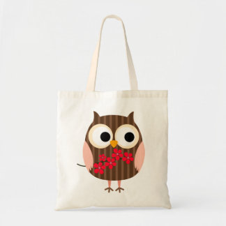 Retro Owl Girl with Flowers Budget Tote Bag
