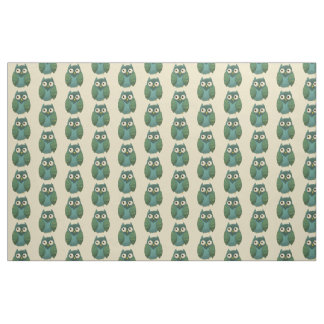 Retro Owl - Green and Teal on Tan Background Fabric