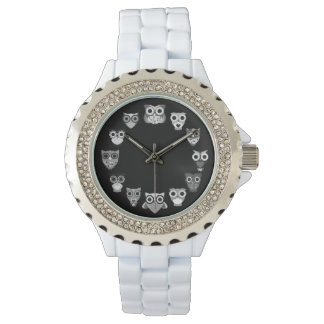 Retro Owl in Black & White Watch