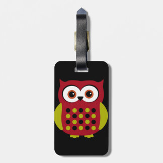 Retro Owl in Red Luggage Tag
