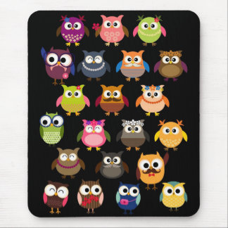 Retro Owl Pattern Mouse Pad