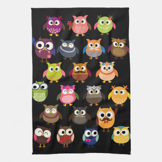 Retro Owl Pattern Tea Towel