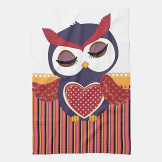 Retro Owl Tea Towel