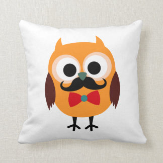 Retro Owl with Handlebar Mustache Moustache Cushion