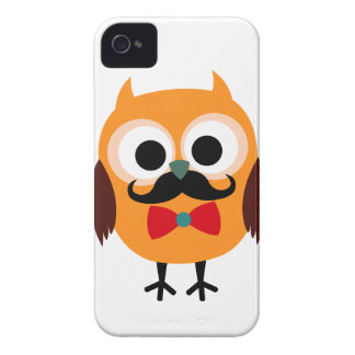 Retro Owl with Handlebar Mustache Moustache iPhone 4 Case-Mate Case