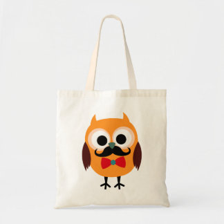 Retro Owl with Handlebar Mustache Moustache Tote Bag