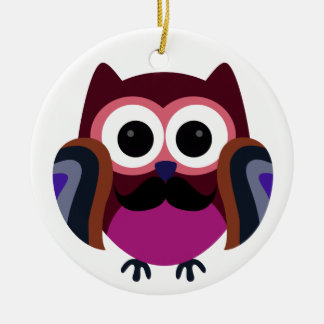 Retro Owl with Mustache Christmas Ornament