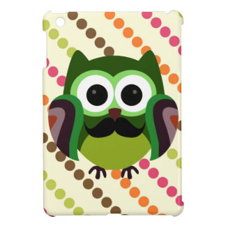 Retro Owl with Mustache iPad Mini Cover