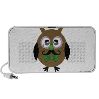 Retro Owl with Mustache Moustache iPhone Speakers