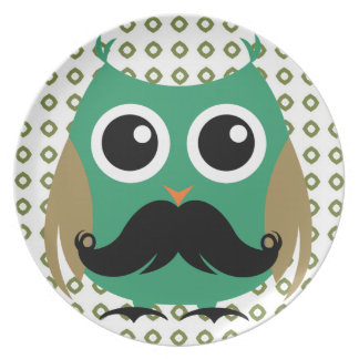 Retro Owl with Mustache Moustache Stache Plate