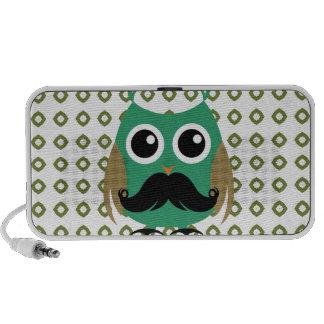 Retro Owl with Mustache Moustache Stache Speaker System