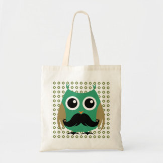 Retro Owl with Mustache Moustache Stache Tote Bag