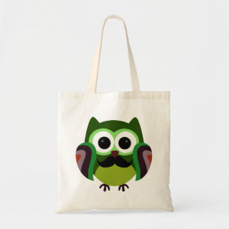 Retro Owl with Mustache Tote Bag