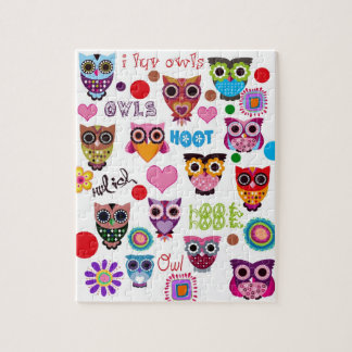 Retro Owls Jigsaw Puzzle