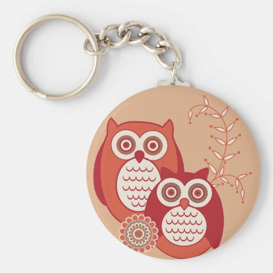Retro Owls Keychain
