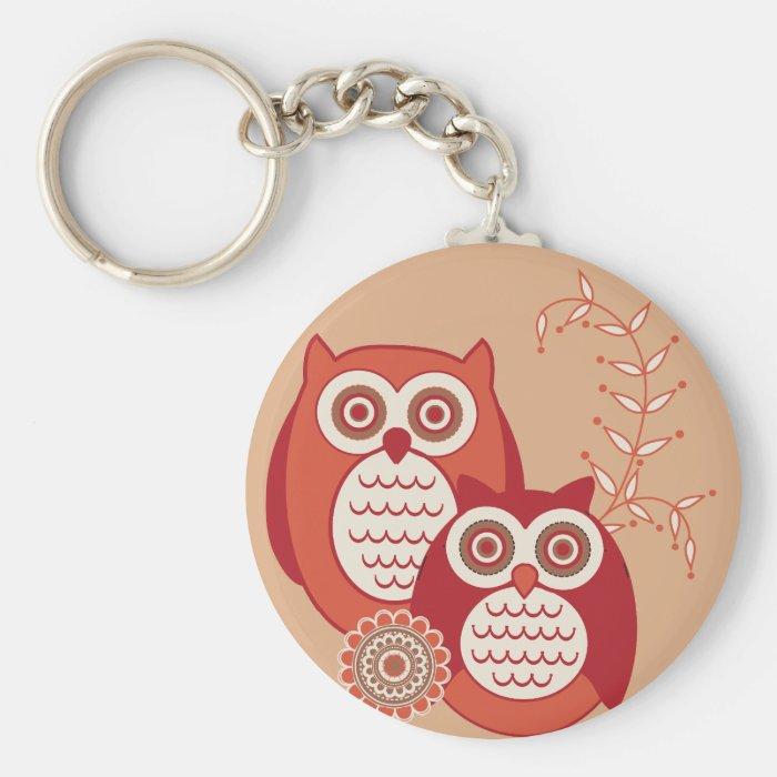 Retro Owls Keychain