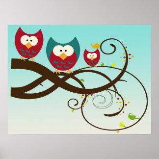 Retro Owls on Swirly Branch Poster